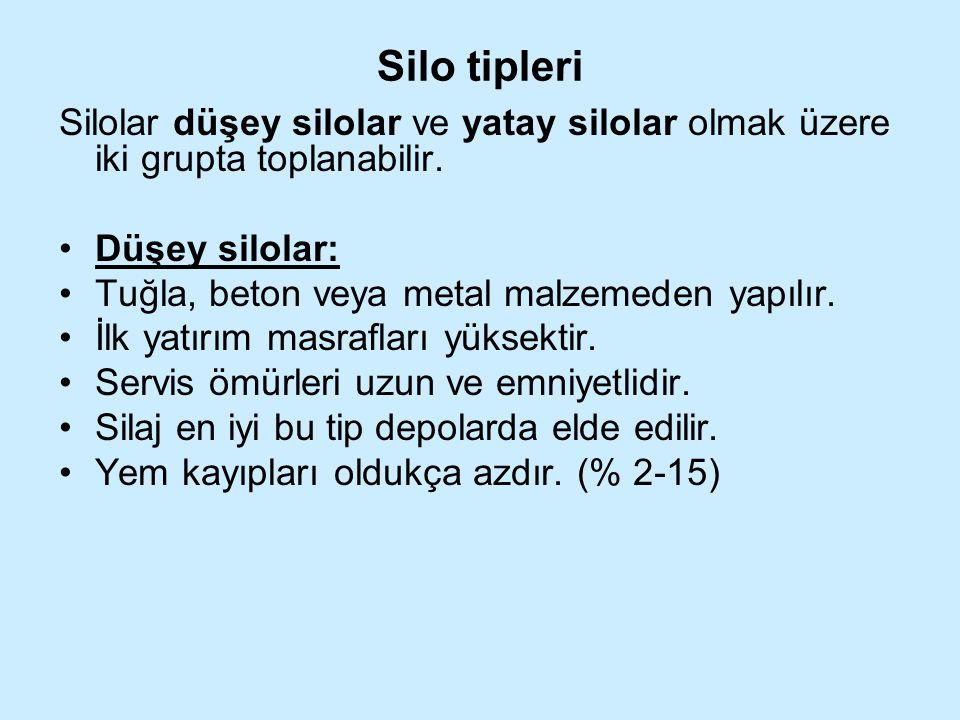 Silo tipleri Silolar düşey silolar ve yatay silolar olmak üzere iki grupta toplanabilir. Düşey silolar: