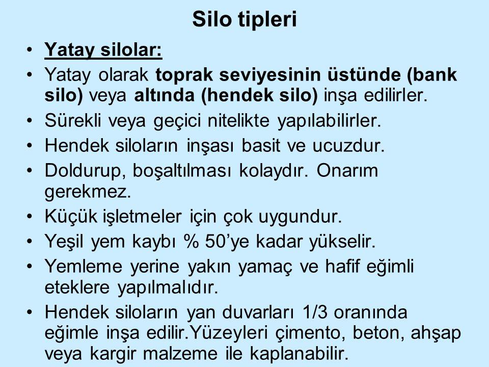 Silo tipleri Yatay silolar: