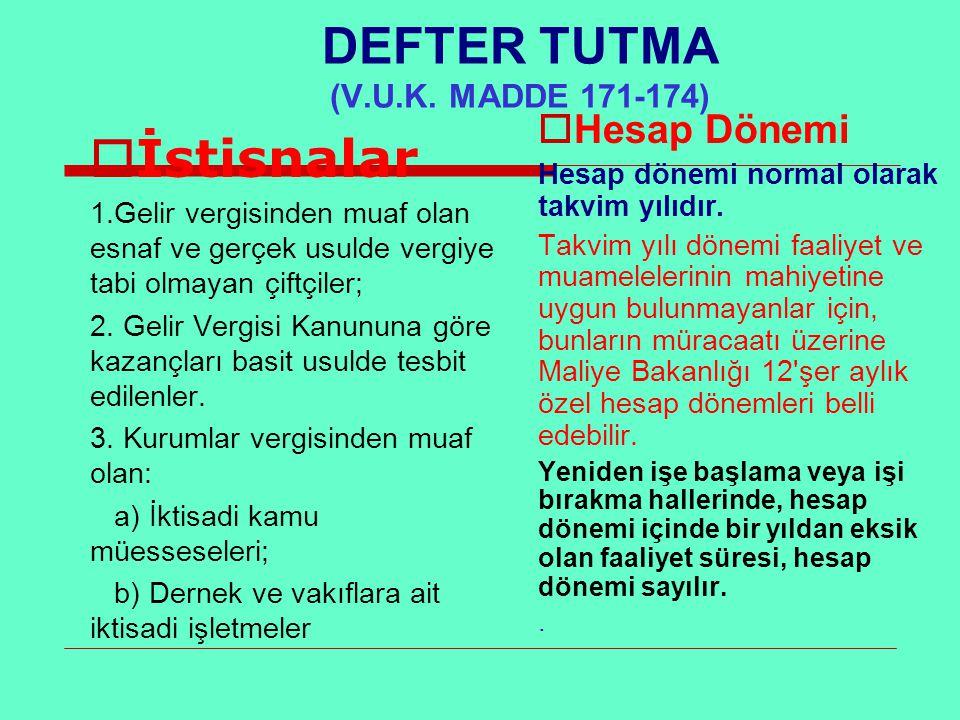DEFTER TUTMA (V.U.K. MADDE 171-174)