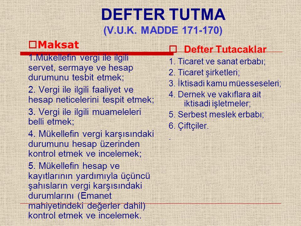 DEFTER TUTMA (V.U.K. MADDE 171-170)