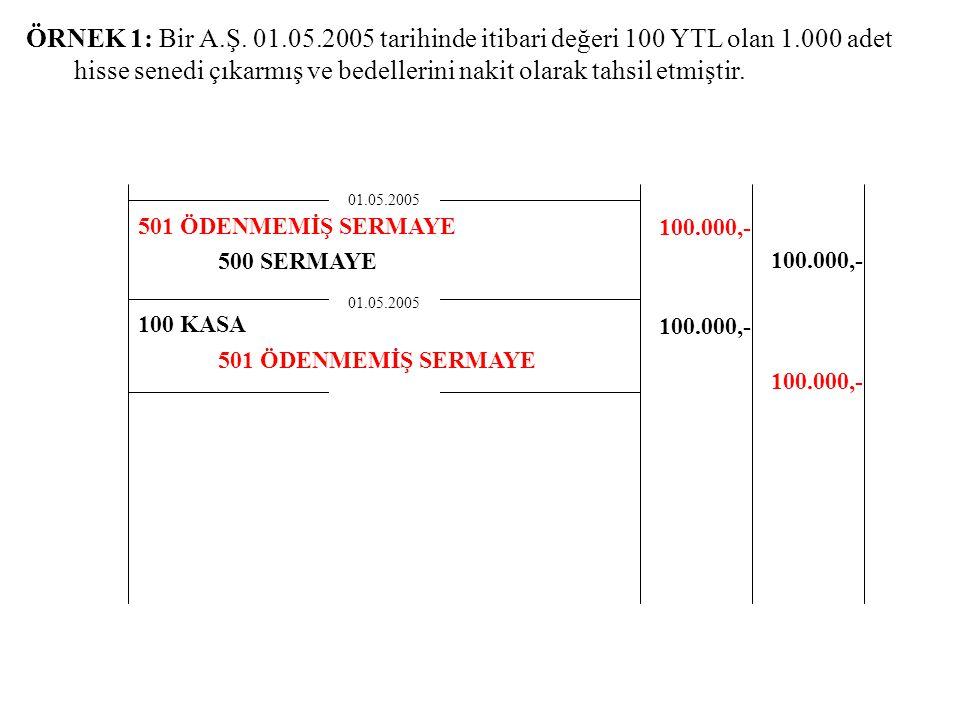 ÖRNEK 1: Bir A.Ş. 01.05.2005 tarihinde itibari değeri 100 YTL olan 1.000 adet hisse senedi çıkarmış ve bedellerini nakit olarak tahsil etmiştir.