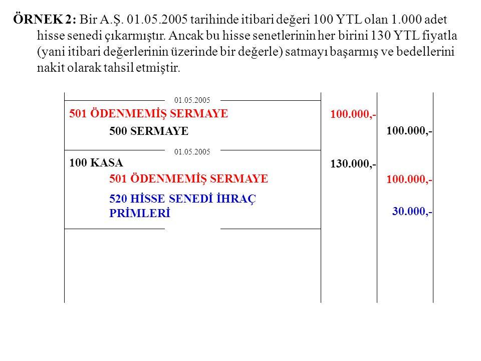 ÖRNEK 2: Bir A.Ş. 01.05.2005 tarihinde itibari değeri 100 YTL olan 1.000 adet hisse senedi çıkarmıştır. Ancak bu hisse senetlerinin her birini 130 YTL fiyatla (yani itibari değerlerinin üzerinde bir değerle) satmayı başarmış ve bedellerini nakit olarak tahsil etmiştir.