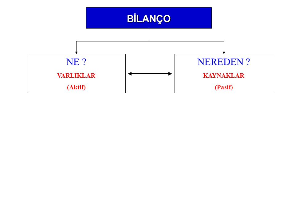 BİLANÇO NE VARLIKLAR (Aktif) NEREDEN KAYNAKLAR (Pasif)