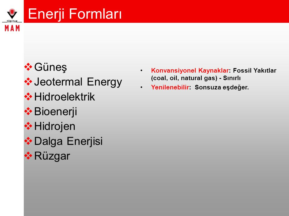 Enerji Formları Güneş Jeotermal Energy Hidroelektrik Bioenerji