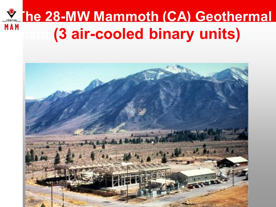 The 28-MW Mammoth (CA) Geothermal plant (3 air-cooled binary units)