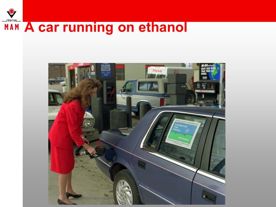 A car running on ethanol