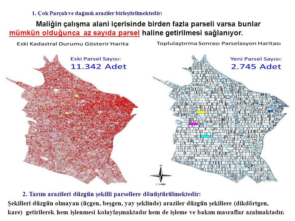 1. Çok Parçalı ve dağınık araziler birleştirilmektedir: