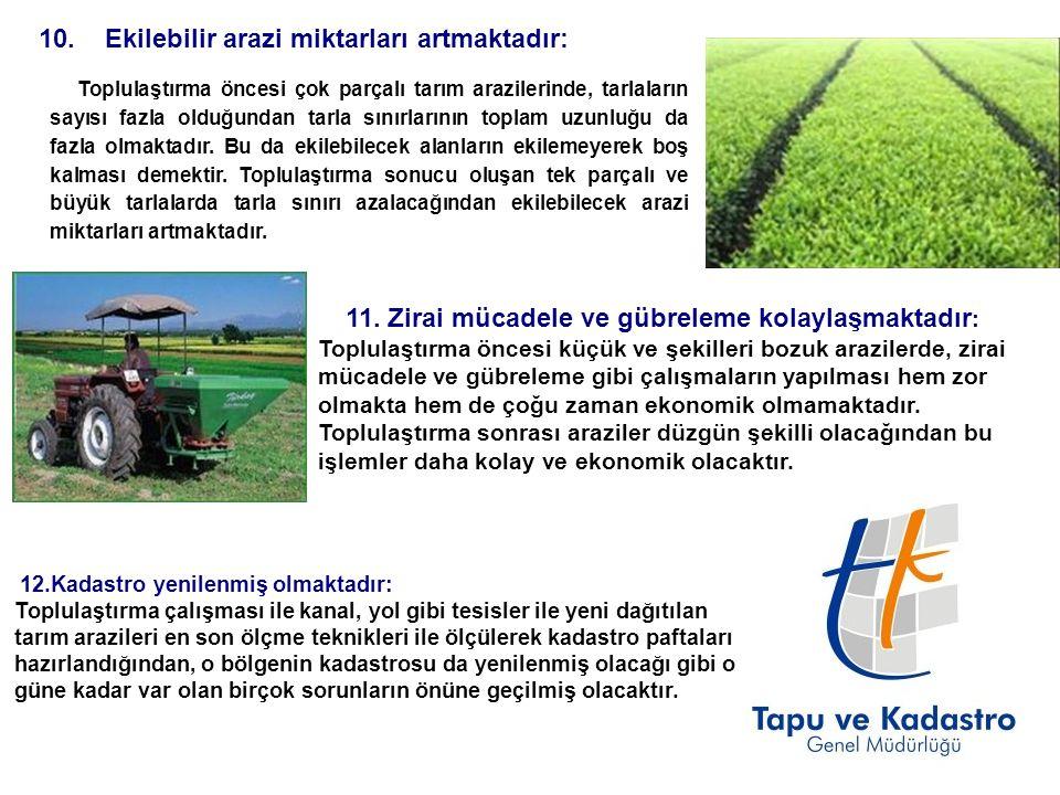 10. Ekilebilir arazi miktarları artmaktadır: