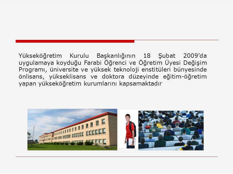 Yükseköğretim Kurulu Başkanlığının 18 Şubat 2009'da uygulamaya koyduğu Farabi Öğrenci ve Öğretim Üyesi Değişim Programı, üniversite ve yüksek teknoloji enstitüleri bünyesinde önlisans, yükseklisans ve doktora düzeyinde eğitim-öğretim yapan yükseköğretim kurumlarını kapsamaktadır