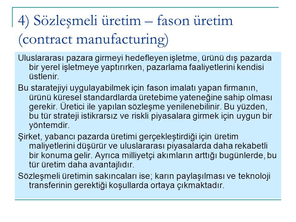 4) Sözleşmeli üretim – fason üretim (contract manufacturing)