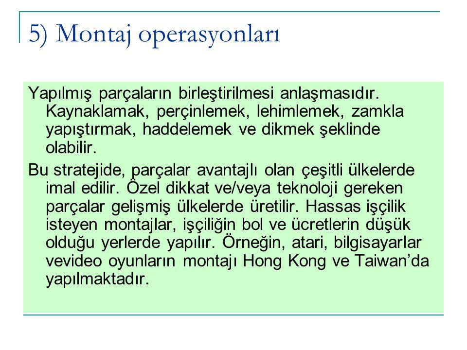 5) Montaj operasyonları