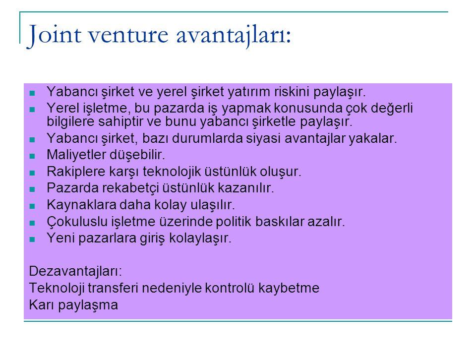 Joint venture avantajları: