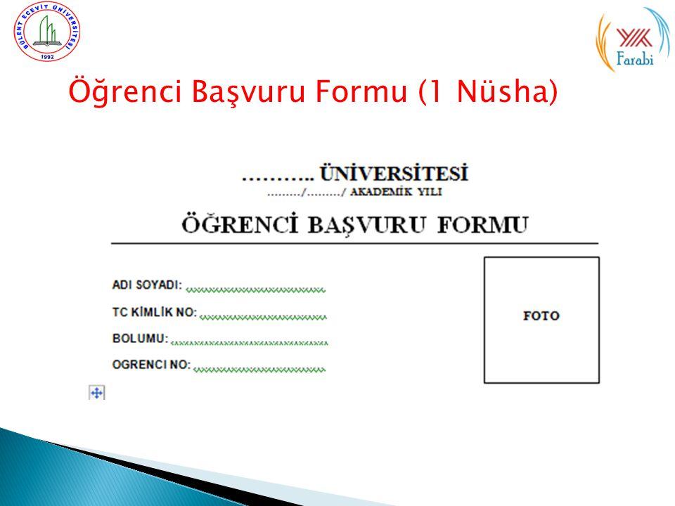 Öğrenci Başvuru Formu (1 Nüsha)