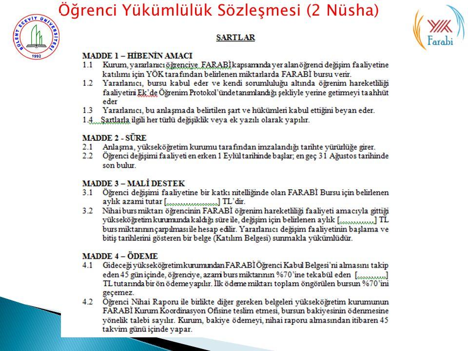 Öğrenci Yükümlülük Sözleşmesi (2 Nüsha)