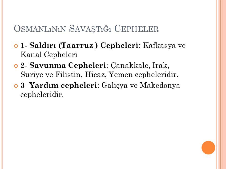 Osmanlının Savaştığı Cepheler