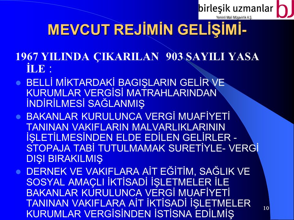 MEVCUT REJİMİN GELİŞİMİ-