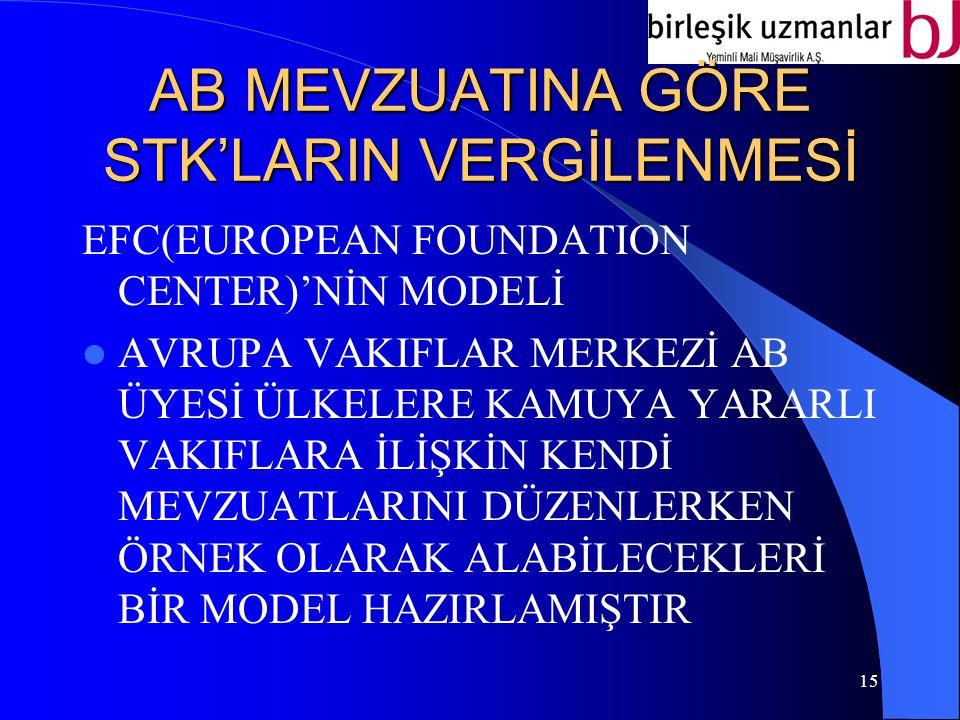 AB MEVZUATINA GÖRE STK'LARIN VERGİLENMESİ