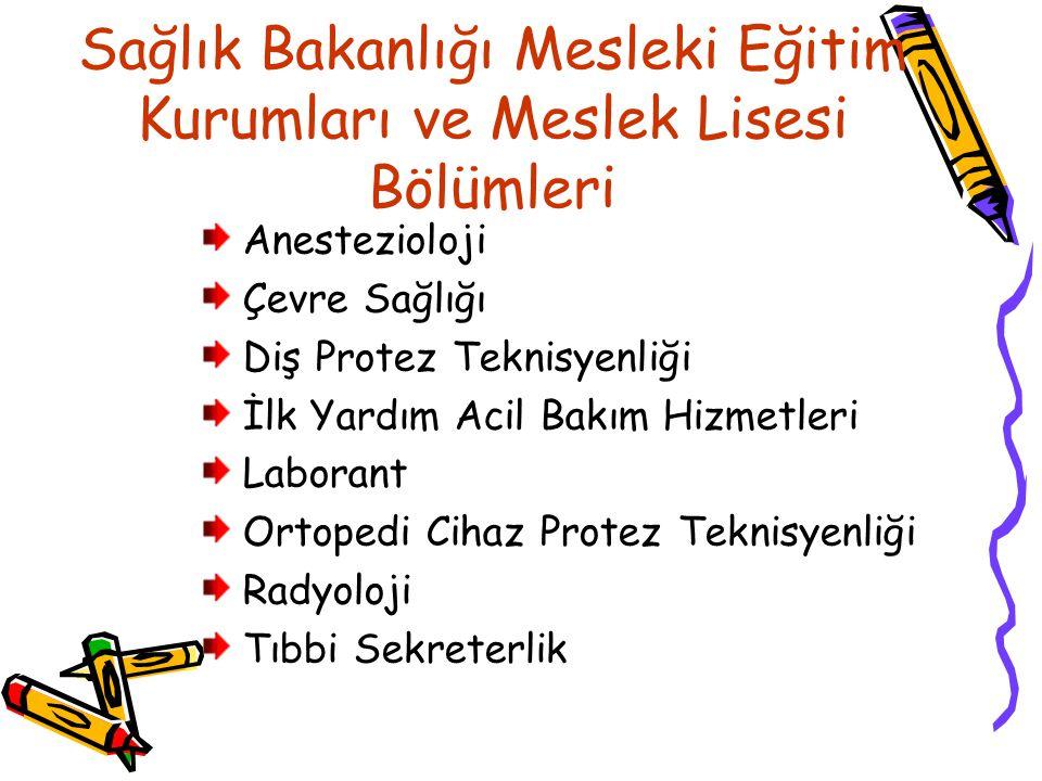 Sağlık Bakanlığı Mesleki Eğitim Kurumları ve Meslek Lisesi Bölümleri