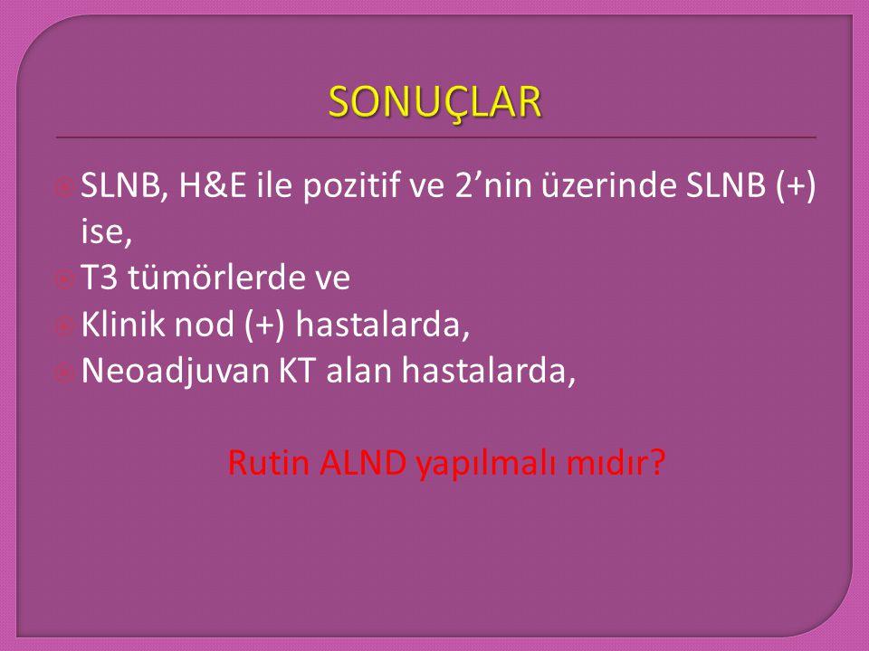 SONUÇLAR SLNB, H&E ile pozitif ve 2'nin üzerinde SLNB (+) ise,
