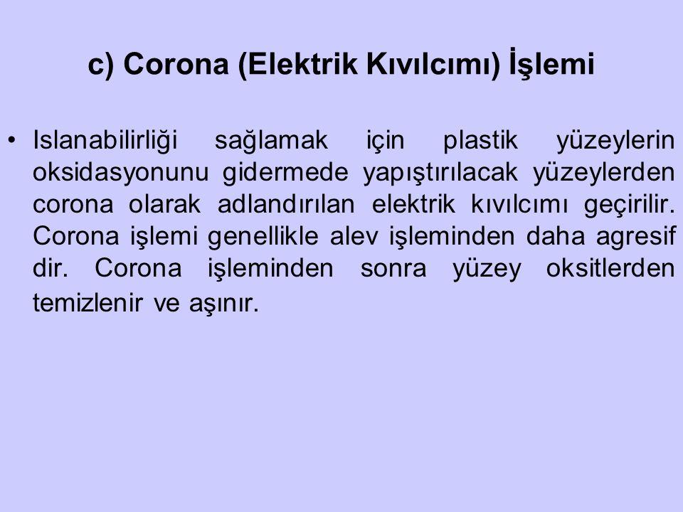 c) Corona (Elektrik Kıvılcımı) İşlemi