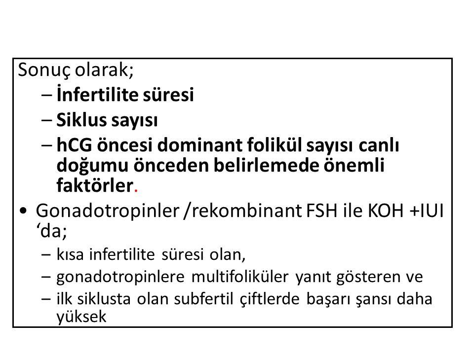 Gonadotropinler /rekombinant FSH ile KOH +IUI 'da;