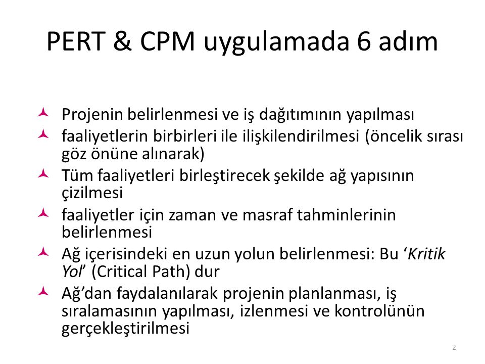 PERT & CPM uygulamada 6 adım