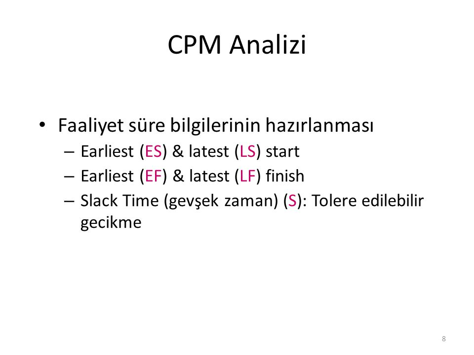 CPM Analizi Faaliyet süre bilgilerinin hazırlanması