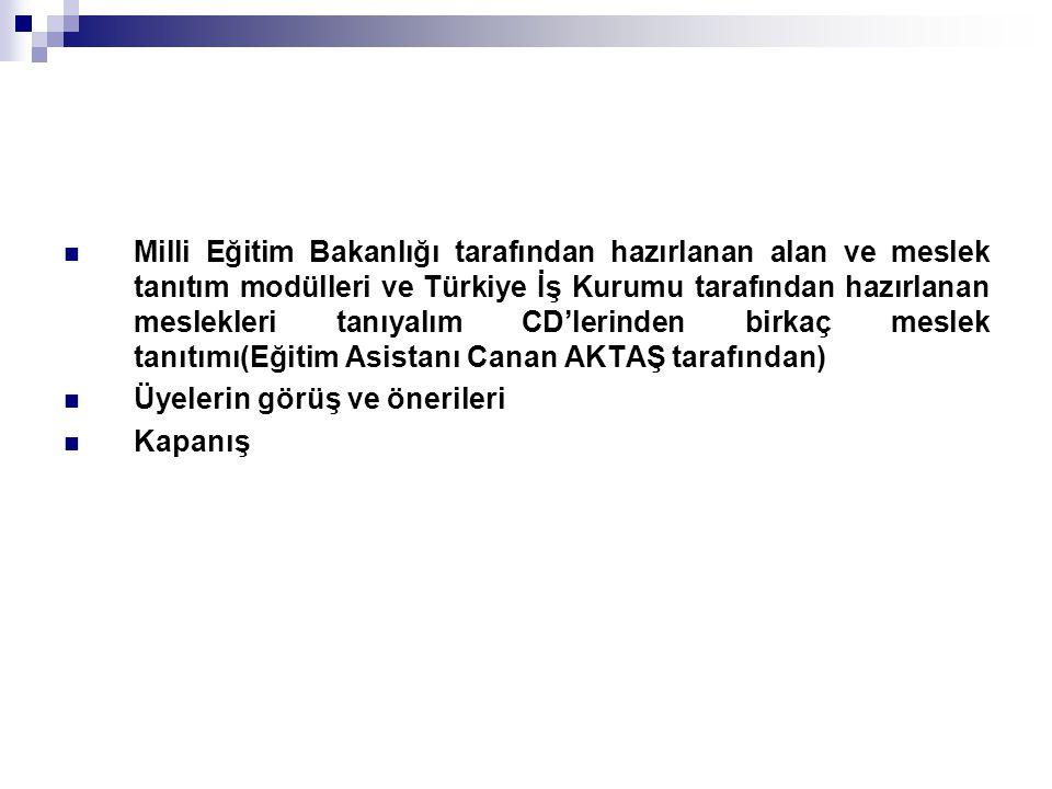Milli Eğitim Bakanlığı tarafından hazırlanan alan ve meslek tanıtım modülleri ve Türkiye İş Kurumu tarafından hazırlanan meslekleri tanıyalım CD'lerinden birkaç meslek tanıtımı(Eğitim Asistanı Canan AKTAŞ tarafından)
