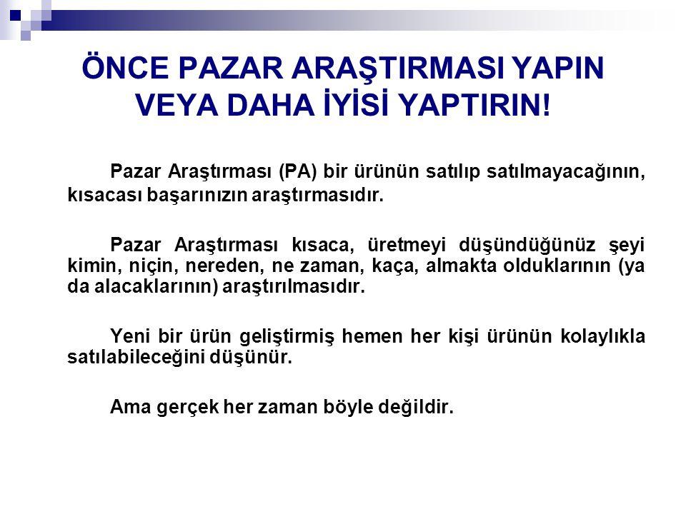 ÖNCE PAZAR ARAŞTIRMASI YAPIN VEYA DAHA İYİSİ YAPTIRIN!