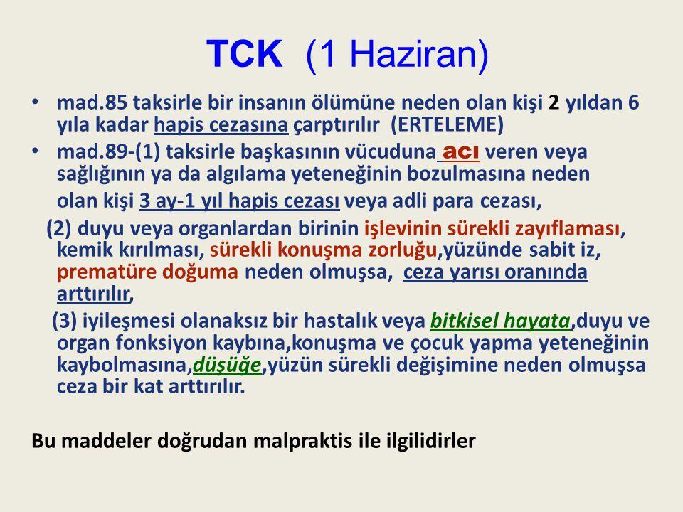 TCK (1 Haziran) mad.85 taksirle bir insanın ölümüne neden olan kişi 2 yıldan 6 yıla kadar hapis cezasına çarptırılır (ERTELEME)