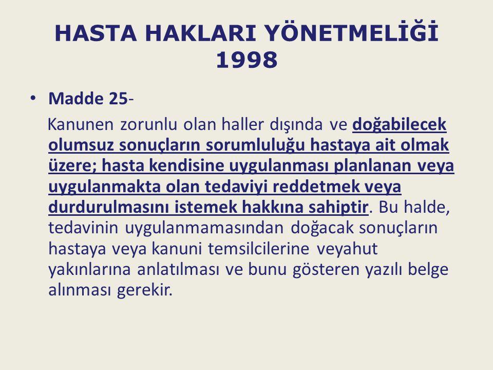 HASTA HAKLARI YÖNETMELİĞİ 1998