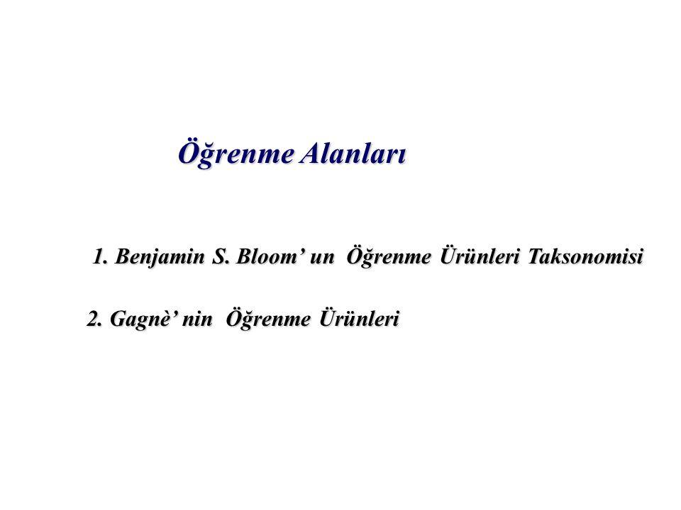 Öğrenme Alanları 1. Benjamin S. Bloom' un Öğrenme Ürünleri Taksonomisi