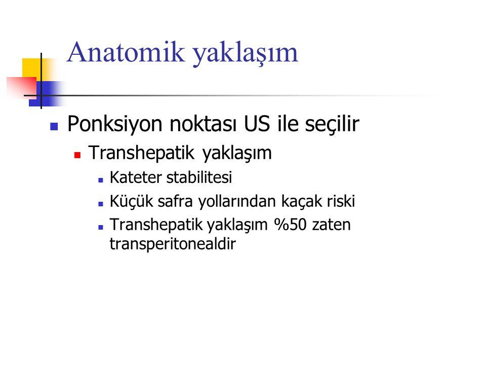 Anatomik yaklaşım Ponksiyon noktası US ile seçilir