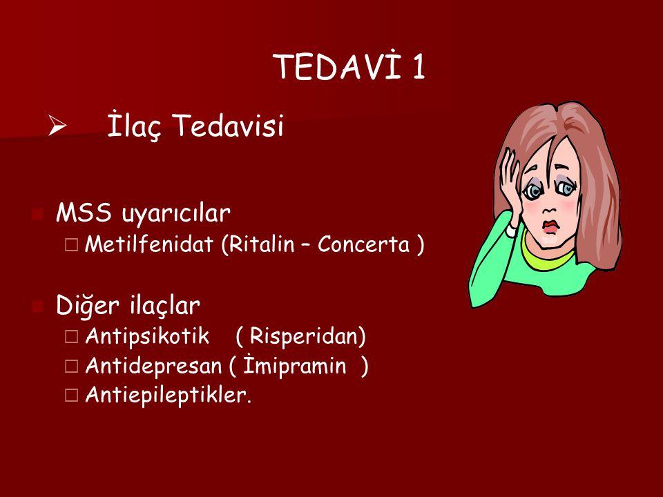 TEDAVİ 1 İlaç Tedavisi MSS uyarıcılar Diğer ilaçlar