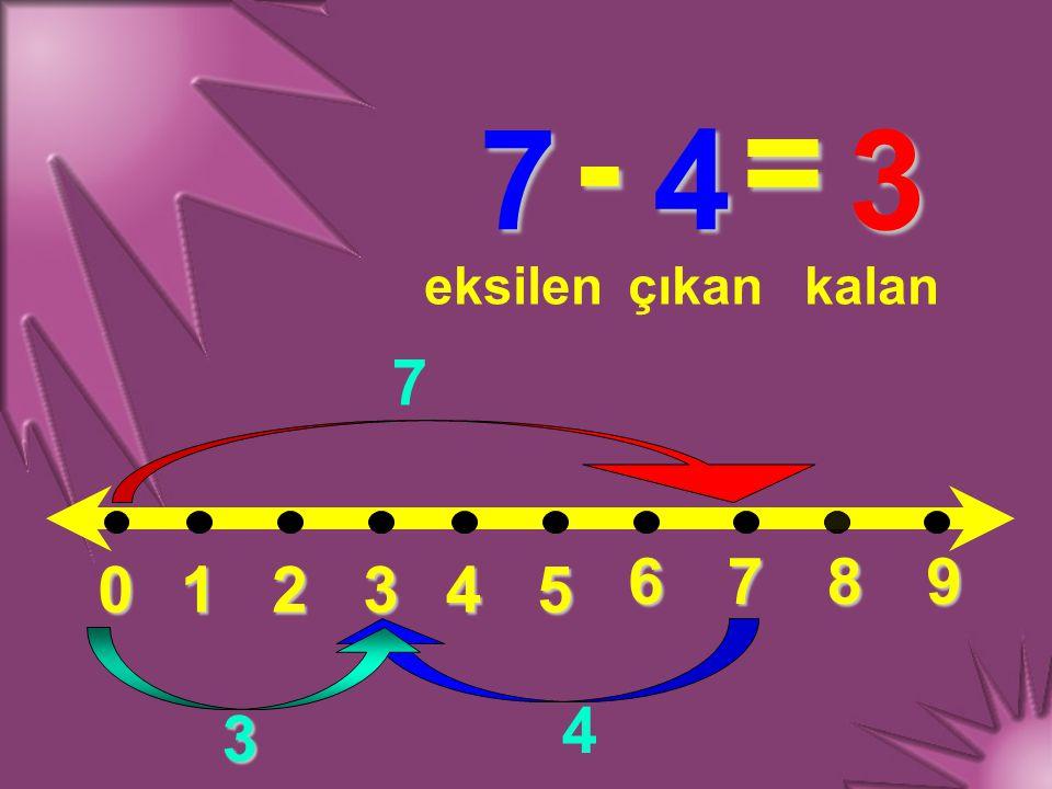 - = 7 4 3 eksilen çıkan kalan 7 6 7 8 9 1 2 3 4 5 4 3