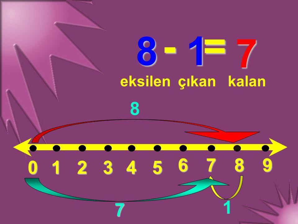 - = 8 1 7 eksilen çıkan kalan 8 6 7 8 9 1 2 3 4 5 1 7