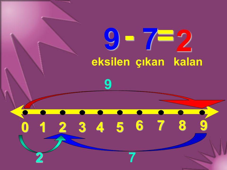 - = 9 7 2 eksilen çıkan kalan 9 6 7 8 9 1 2 3 4 5 2 7