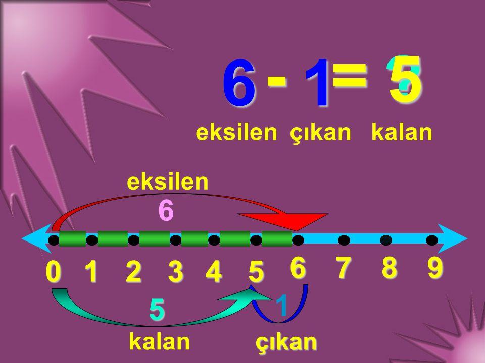 - = 5 6 1 6 6 7 8 9 1 2 3 4 5 1 5 eksilen çıkan kalan eksilen kalan