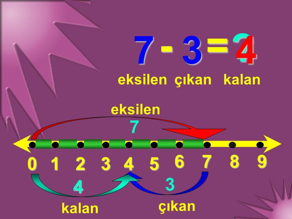 - = 7 3 4 7 6 7 8 9 1 2 3 4 5 3 4 eksilen çıkan kalan eksilen çıkan