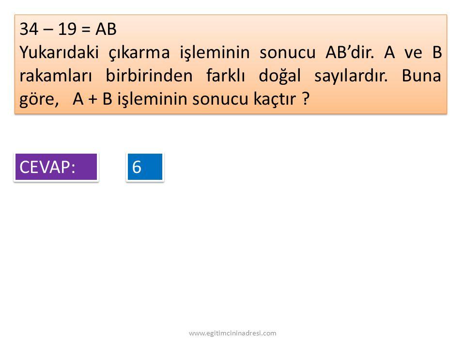 34 – 19 = AB
