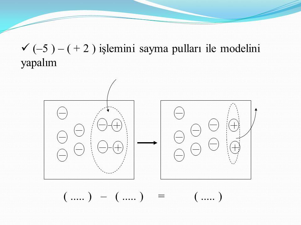 (–5 ) – ( + 2 ) işlemini sayma pulları ile modelini yapalım