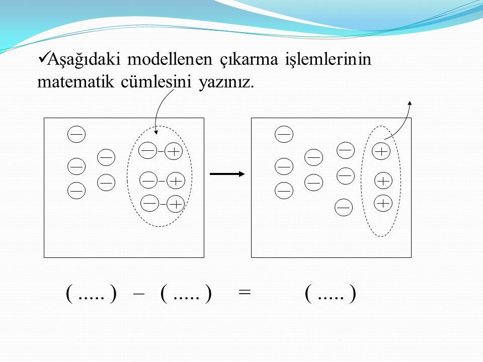 Aşağıdaki modellenen çıkarma işlemlerinin matematik cümlesini yazınız.