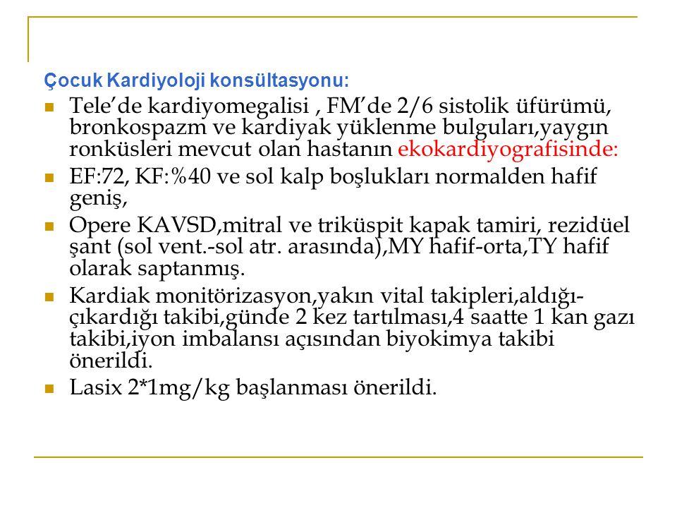 EF:72, KF:%40 ve sol kalp boşlukları normalden hafif geniş,