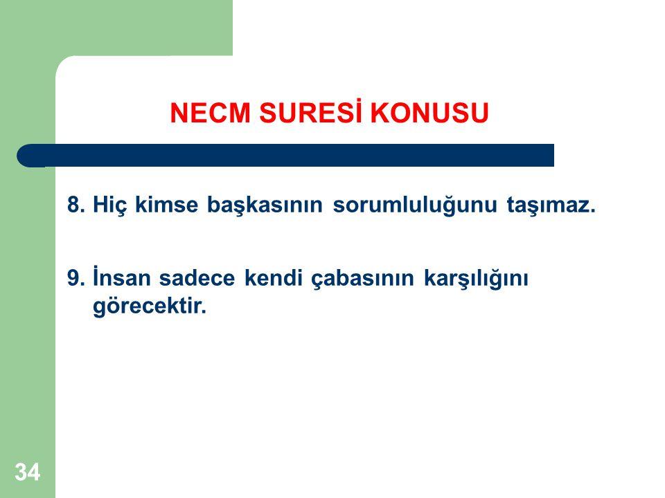 NECM SURESİ KONUSU 8. Hiç kimse başkasının sorumluluğunu taşımaz.