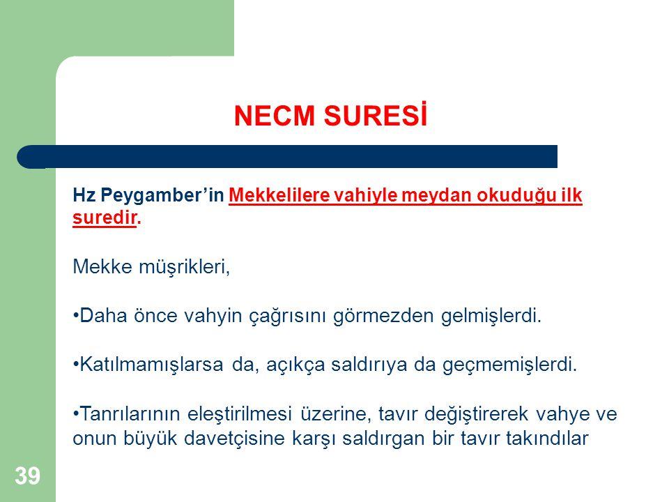 NECM SURESİ 39 Mekke müşrikleri,