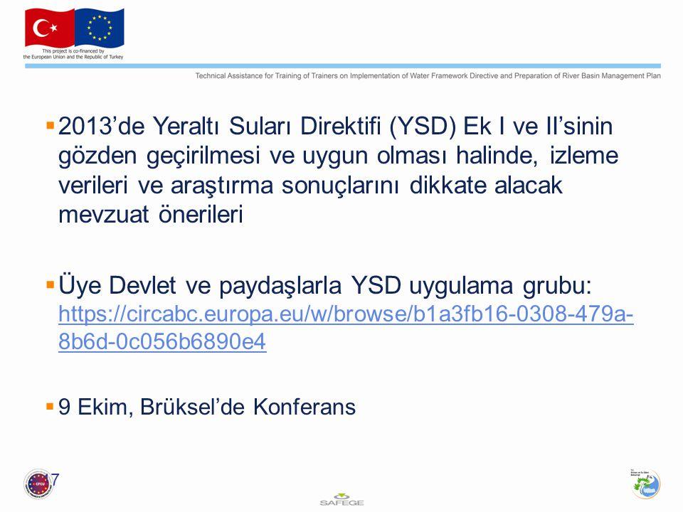 2013'de Yeraltı Suları Direktifi (YSD) Ek I ve II'sinin gözden geçirilmesi ve uygun olması halinde, izleme verileri ve araştırma sonuçlarını dikkate alacak mevzuat önerileri
