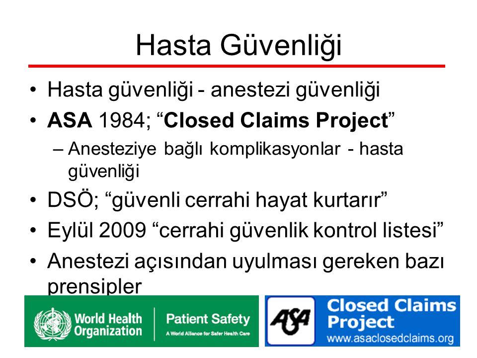 Hasta Güvenliği Hasta güvenliği - anestezi güvenliği