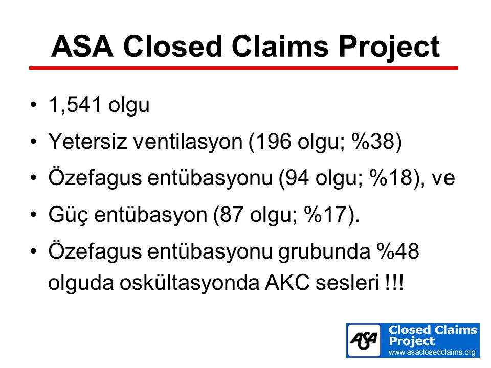 ASA Closed Claims Project