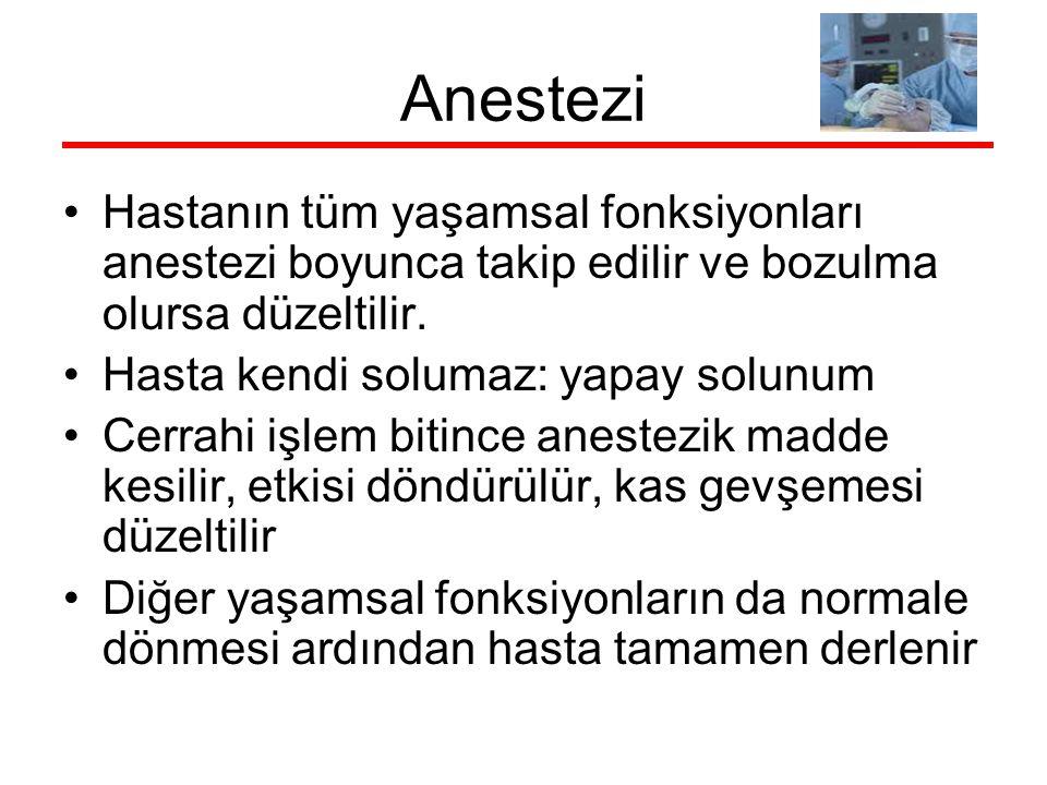 Anestezi Hastanın tüm yaşamsal fonksiyonları anestezi boyunca takip edilir ve bozulma olursa düzeltilir.