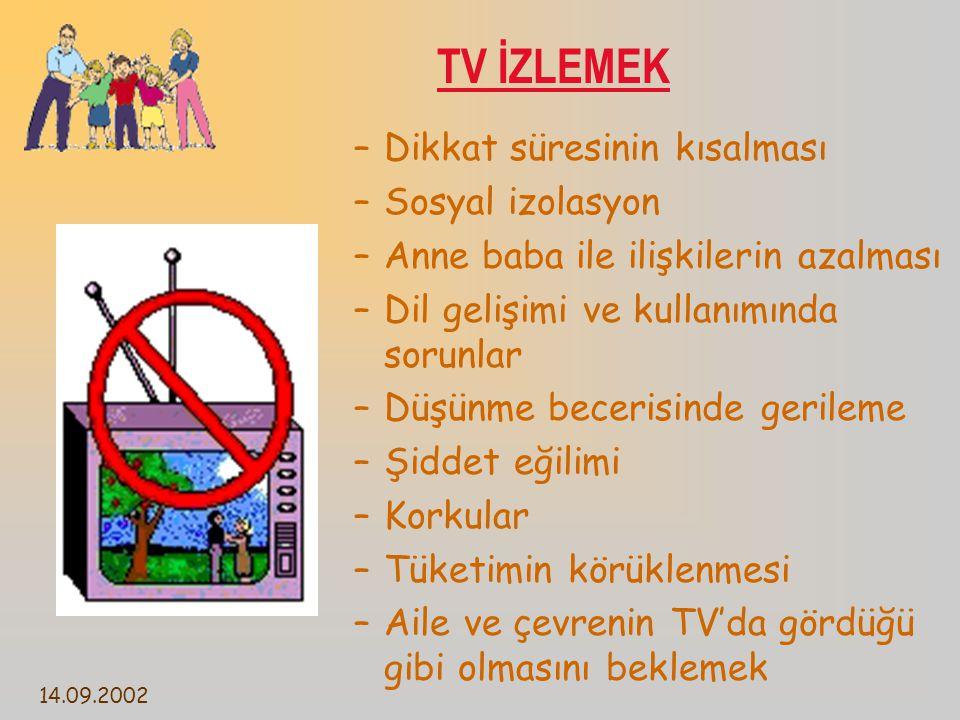 TV İZLEMEK Dikkat süresinin kısalması Sosyal izolasyon